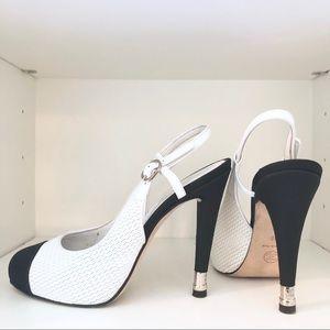 CHANEL | White & Black Leather Slingback Pumps 38